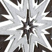 Etoile en bois à suspendre gris, blanc 48cm x 40cm