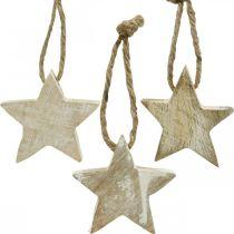 Décorations de sapin de Noël étoile en bois naturel, blanchi 5cm 36pcs