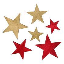 Étoiles en bois 3-5cm nature / rouge 24pcs