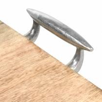 Plateau en bois avec poignées manguier, métal naturel, argent 46 × 25cm
