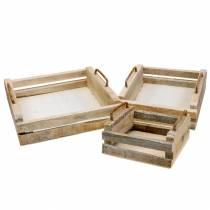 Plateau en bois avec poignées carrées 30 × 30/24 × 24/18 × 18cm, lot de 3