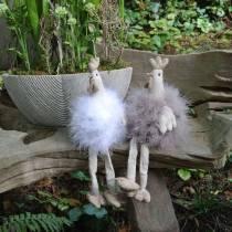Décoration de Pâques paire de poulets, sièges de bord, ressort, poulets décoratifs avec plumes 2pcs