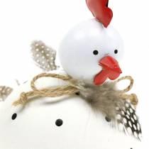 Figurine déco poulet blanc à pois et plumes H13cm