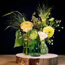 Vase En Verre Farmer Argent Vert H11cm 6pcs