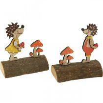 Hérisson aux champignons, figure d'automne, paire de hérissons en bois jaune / orange H11cm L10 / 10,5cm lot de 2