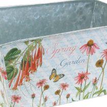 Jardinière jardinière en métal décoration de printemps 20 × 12 × 10cm