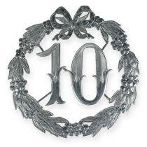 Numéro d'anniversaire 10 argenté