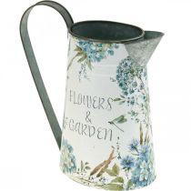 Vase à fleurs cruche fleurs bleu, vert jardinière décoration de jardin métal 23cm