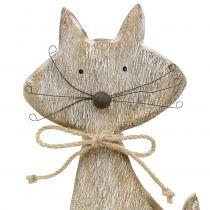 Figurine en bois chat, nature, blanc 37 cm