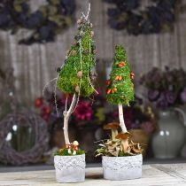Vase en céramique, cache-pot avec décor chêne, cache-pot vert/blanc/gris Ø13cm H11.5cm lot de 3