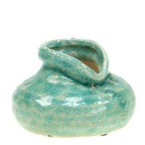 Vase en céramique bleu antique H9cm
