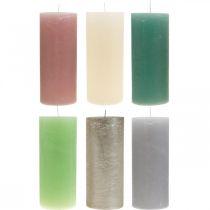 Bougies piliers colorées de différentes couleurs 85 × 200mm 2pcs