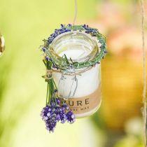 Bougie dans une décoration en verre avec couvercle Bougie en cire Pure Nature cire d'abeille huile d'olive