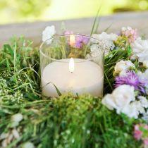 Bougie décoration bougie LED en verre cire véritable blanc Ø10cm H13cm