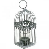 Décoration de bougie, cage à oiseaux avec verre photophore, lanterne en métal, décoration de mariage, lanterne 22cm