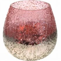 Lanterne en verre, photophore, décoration de table, bougie en verre rose/argent Ø15cm H15cm