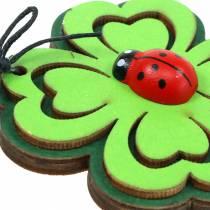 Shamrock avec coléoptère pour accrocher 7pcs vert 7cm.