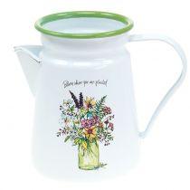 Pichet décoratif pot à plantes émaillé Ø 12 cm H. 16 cm