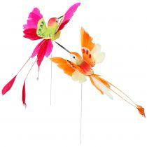 Colibri sur fil de fer à piquer fuchsia, orange 17 cm 6 p.