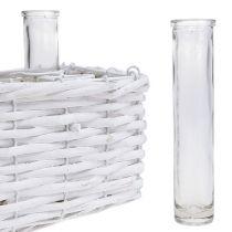 Panier rectangulaire blanc avec 6 vases éprouvette 16 x 17,5 cm