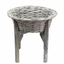 Corbeille sur pied en bois Ø 33 cm H., gris-blanc