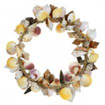 Couronne décorative coquilles et escargots nature Décoration maritime Ø30cm