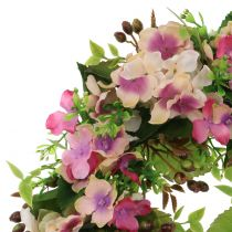 Couronne avec hortensias et baies roses Ø 30 cm