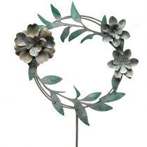 Pique de jardin avec couronne florale, métal H. 63 cm