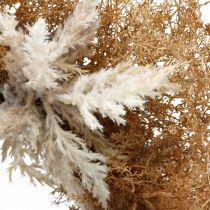 Guirlande décorative herbe de pampa crème artificielle, couronne de porte marron Ø60cm