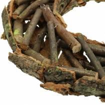 Couronne décorative avec branches et écorce Ø40cm