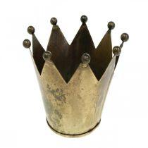 Photophore couronne métal aspect laiton vieilli Ø12.5cm H11.5cm