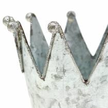 Pot décoratif couronne métal argenté Ø13.5cm H11.5cm 2pcs