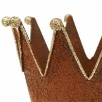 Pot décoratif couronne Belle rouille Couleur or Ø13,5cm H11,5cm 2pcs