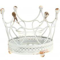 Support à bougie couronne blanc Ø 13 cm H. 9,5 cm