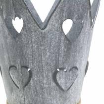 Pot en zinc couronne coeurs lavé gris set Ø12 / 14cm