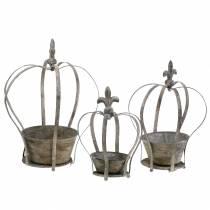 Jardinière Deco Crown gris antique 3pcs