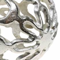 Boule décorative ajourée métal argenté Ø15cm