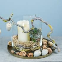 Bougie LED en vraie cire ivoire, minuterie effet flamme blanc chaud, à piles Ø7,5 H15cm