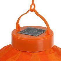 Lampion à LED sur énergie solaire 20 cm orange