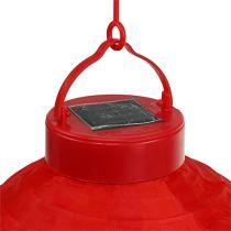Lampion à LED sur énergie solaire 20 cm rouge