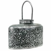 Lanterne ovale aspect antique métal argenté 15×28cm H19cm