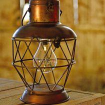 Lanterne solaire, suspension LED aspect industriel Ø16cm H32cm