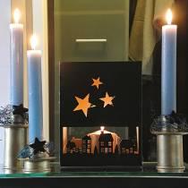 Lanterne Maisons de Noël Carré Noir, Métal Doré 20,5 × 10cm H26cm