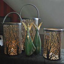 Lanterne en métal, lanterne avec arbre, décoration automne, noir, doré Ø20 / 19 / 14cm H23,5 / 17 / 12,5cm