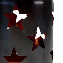 Lanterne à motif étoile noir-cuivre Ø10cm H13,5cm