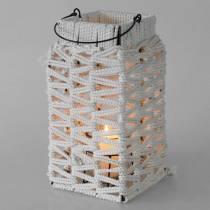 Lanterne avec anse, décoration bougie en macramé, abat-jour motif tressé H35,5cm