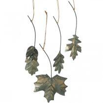 Feuilles en métal à suspendre feuilles d'automne gris antique 7.5-10cm 4pcs