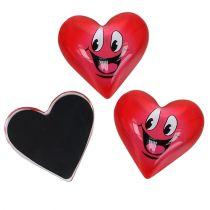 Magnet smiley coeur rouge 4 cm 6 p.