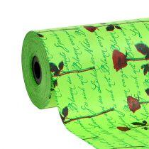 Papier de fleuriste 25 cm 100 m vert avec rose