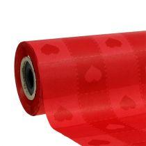 Papier de fleuriste 25 cm 100 m rouge avec coeurs